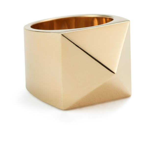 Large Gold Pyramid Ring
