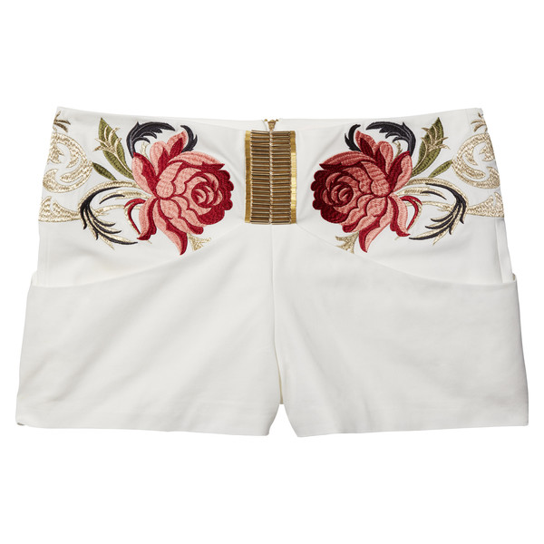 Lena Dunham's White Shorts With Gold & Roses