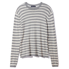Light weight cotton stripe crew neck sweater