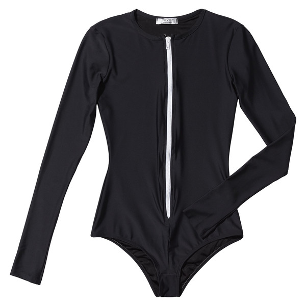 Long Sleeve Front Zip Swimsuit