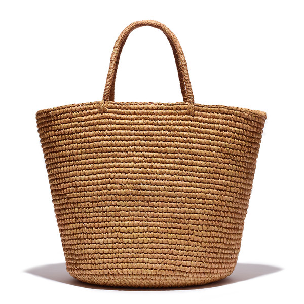 Maxi Tote in Solid Woven Straw