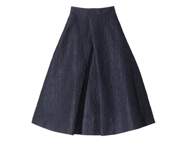 navy pleat-front skirt