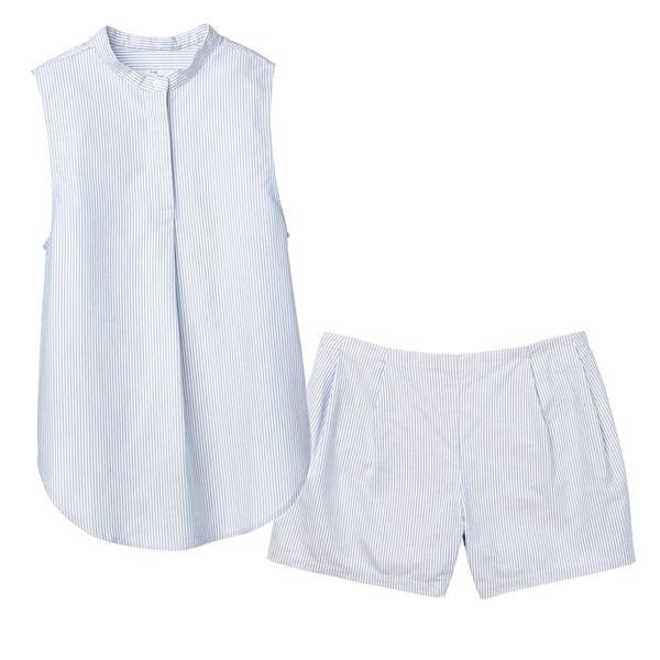 Sleeveless Shirt Top and Pleat Short Set