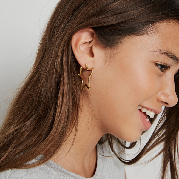 Small Star Hoop Earrings