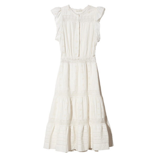 Tatyana Dress in Embroidered Cotton Silk with Lace
