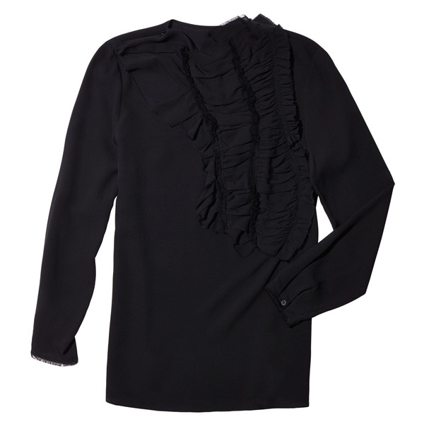 Crushed Ruffle Blouse with Raw Edge Detail Black