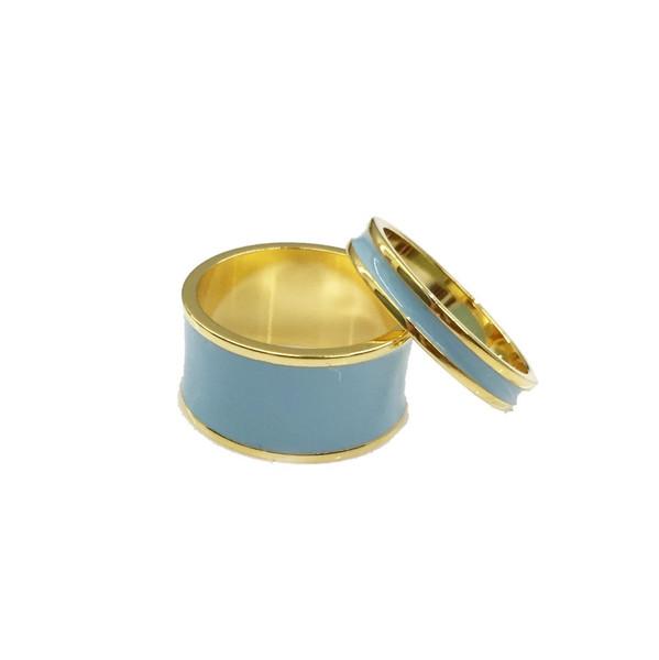 Enamel Channel Rings Gold Blue