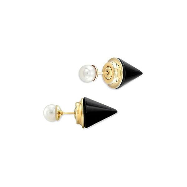 Double Titan Stone + Pearl Earring