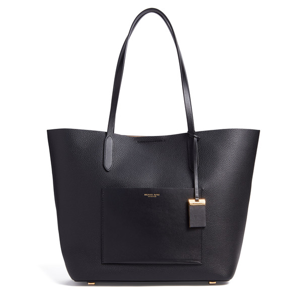 Large EW Tote in Grained Calf Leather Black