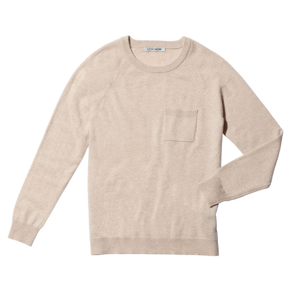 long sleeve pocket sweater Wheat