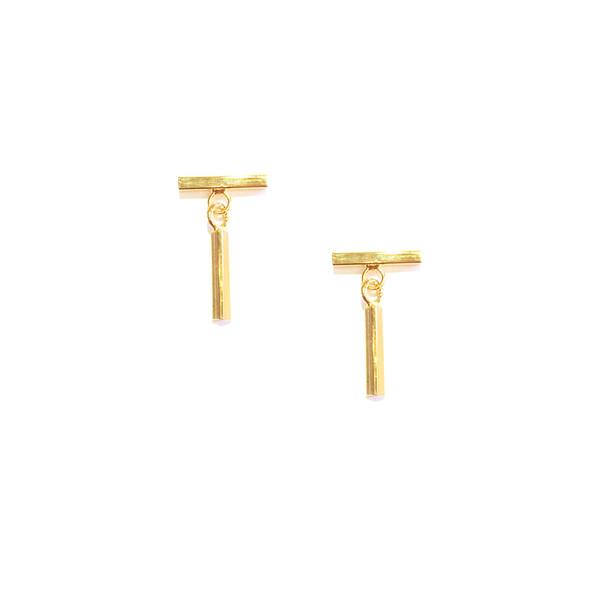Mini T-Bar Earrings Gold