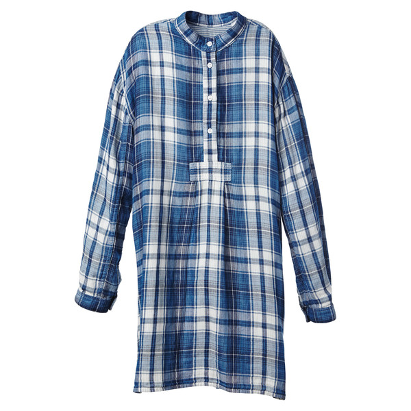 Short Sleep Shirt Double Faced Plaid Stripe