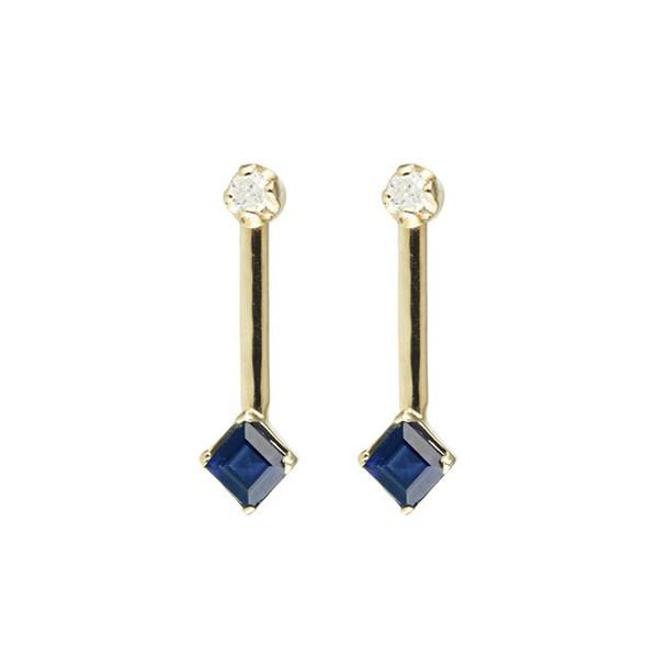 Diamond & Square Bar Stud Earrings