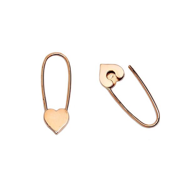 Mini Heart Safety-Pin Earrings