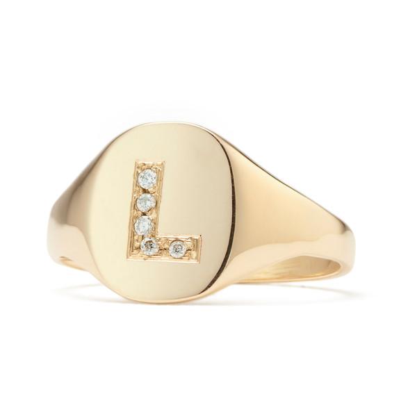 Petite Signet Ring Diamond Letter