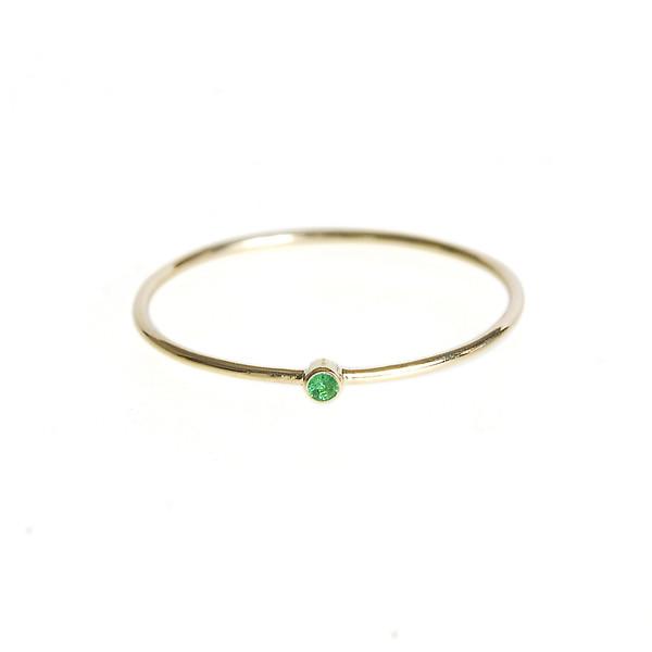 Jennifer Meyer Thin Ring With Emerald