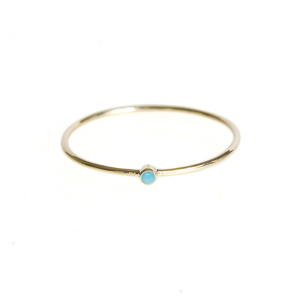 Jennifer Meyer Thin Ring With Turquoise
