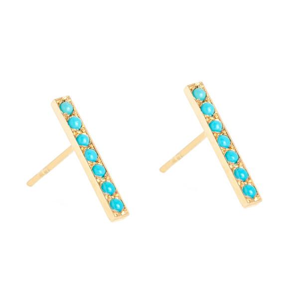 Turquoise Long Bar Studs