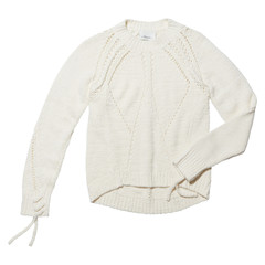 Long sleeve pointelle pull over