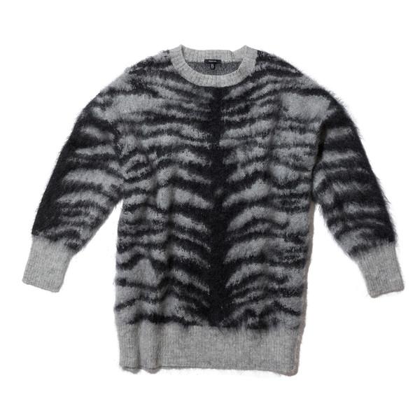 Zebra Mohair Crewneck Sweater