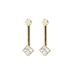 Square & Diamond Bar Stud Earrings