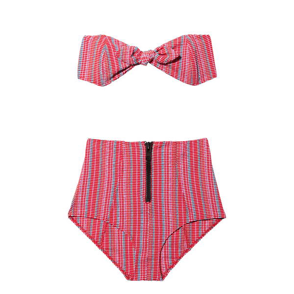 Lisa Marie Fernandez Poppy Seersucker High-Waisted Bikini