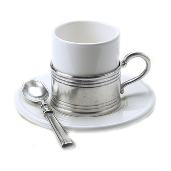 MATCH Pewter Espresso cup with ceramic saucer