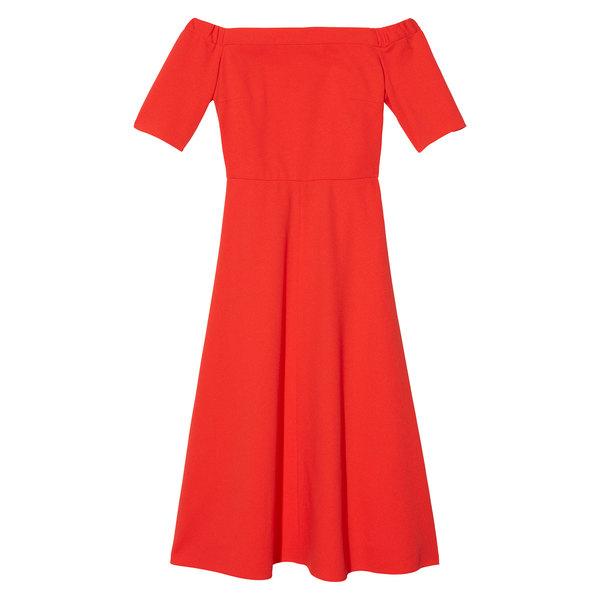 Tibi Crepe elbow-sleeve dress