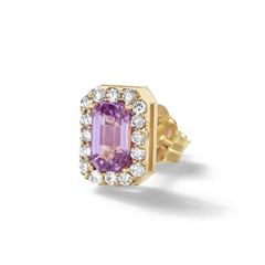 Pink Sapphire & Diamond stud