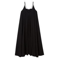 Washed cotton-poplin sleeveless trapeze dress