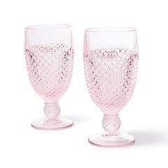 Pink Glass Goblet Set of 2