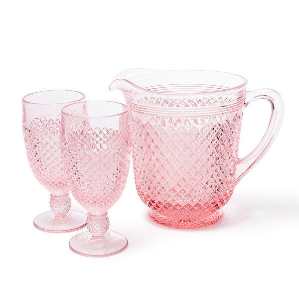 MOSSER GLASS Pink Glass Goblet Set of 2