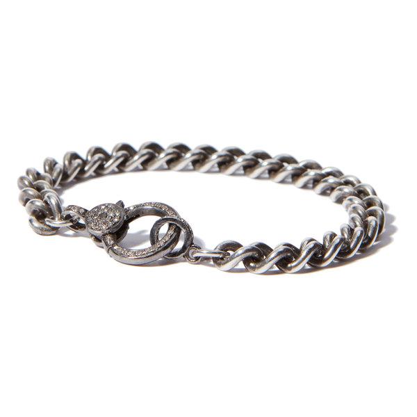 Sheryl Lowe Chain Bracelet with Pavé Clasp