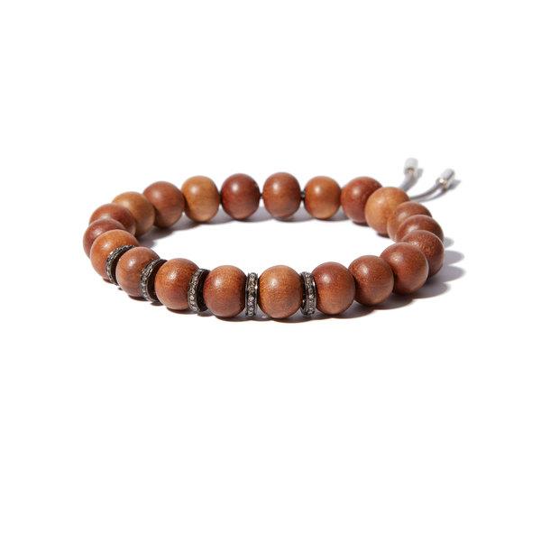 Sheryl Lowe Sandalwood Bead Bracelet with Pavé Rondelles