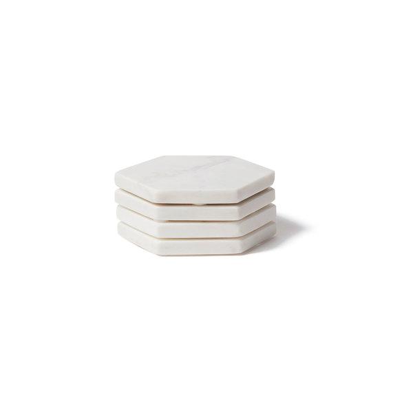 BIDK Home  Set of 4 Marble Hex Coasters