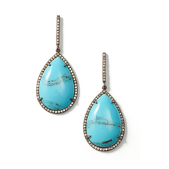 Mexican Turquoise Teardrop Earrings