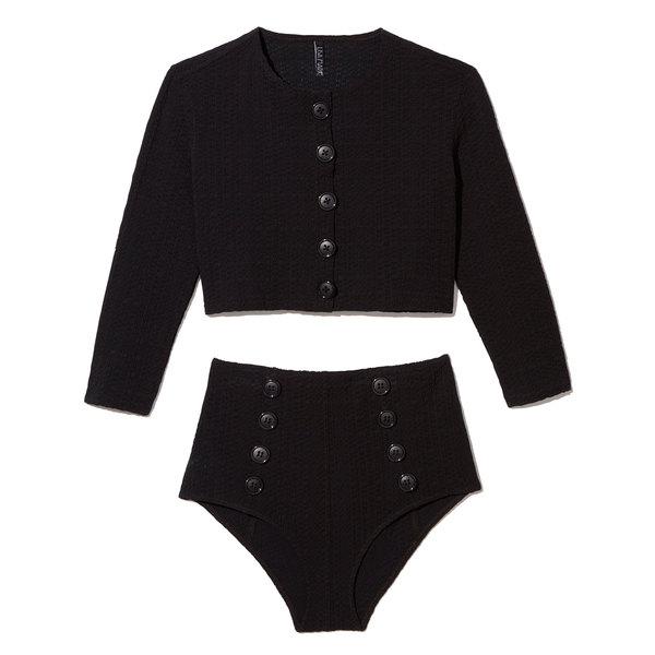Lisa Marie Fernandez Genevieve High-Waist Seersucker Twin Set Bikini