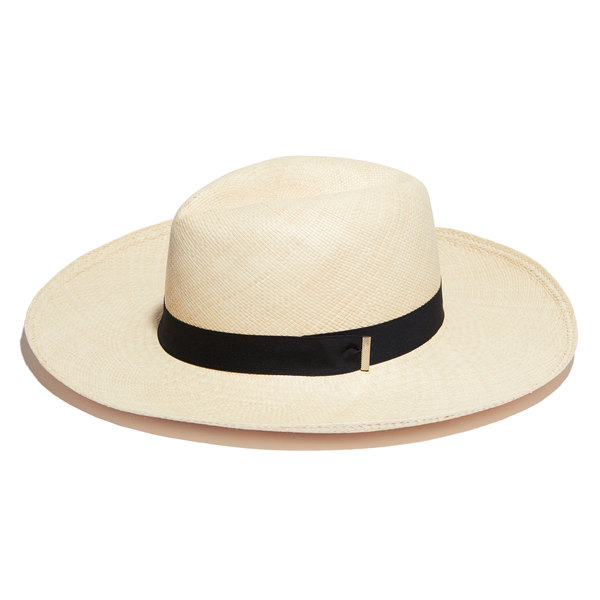 KIN THE LABEL Genuine Panama Straw Hat with Navy Grosgrain Ribbon