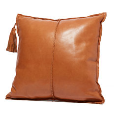 Leather Pillow with Tassel