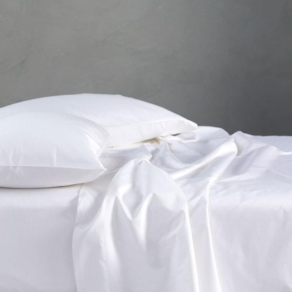 COYUCHI  500 TC Organic Supima Sateen Sheet Set Queen Alpine White