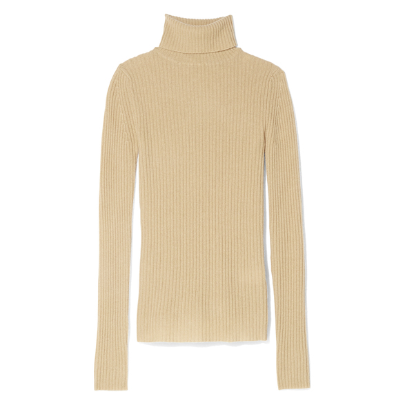 R13 Rib Camel Turtleneck