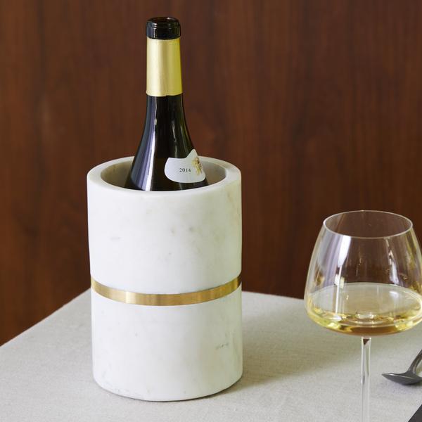 BIDK HOME  Marble & Brass Single-Bottle Wine Cooler