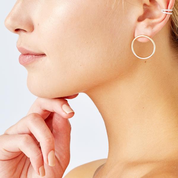 ERINESS Double Row Diamond Ear Cuff
