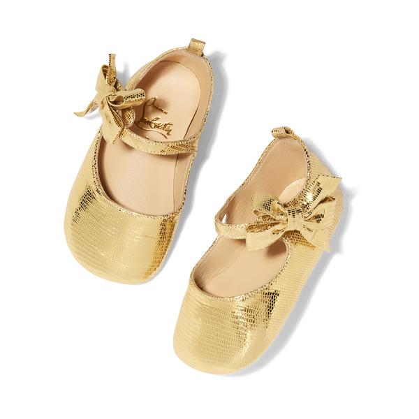 Christian Louboutin Gold Laminato Dino Shoes