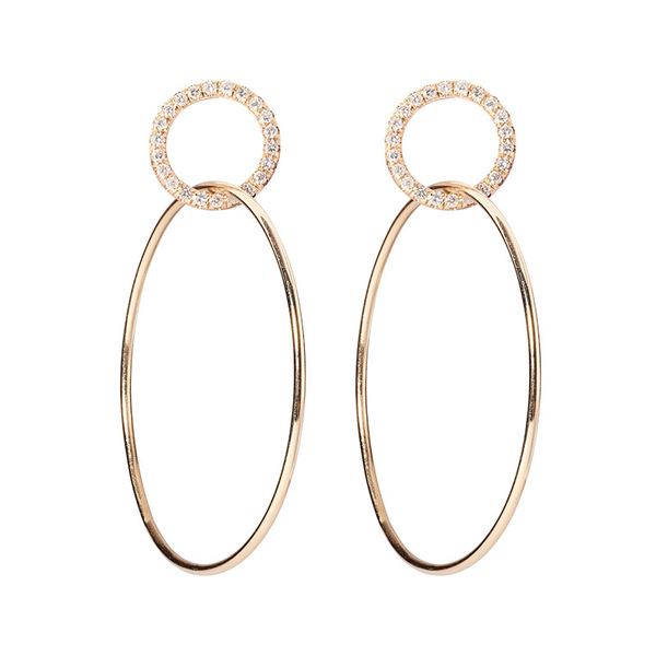 Sophie Ratner Single Circle Hinge Ring Pave Earrings