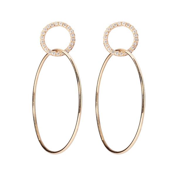 Sophie Ratner Single Circle Hinge Ring Pave Earrings