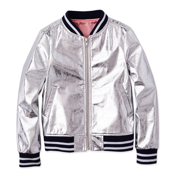 Rockets of Awesome Crinkle Silver Bomber Jacket