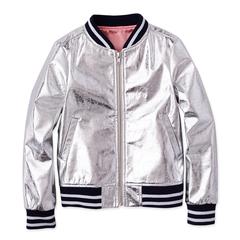 Crinkle Silver Bomber Jacket
