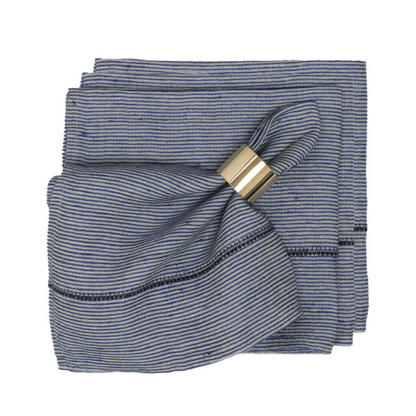 Caravan  Linen Stitch Chambray Stripe Napkins, Set of 4