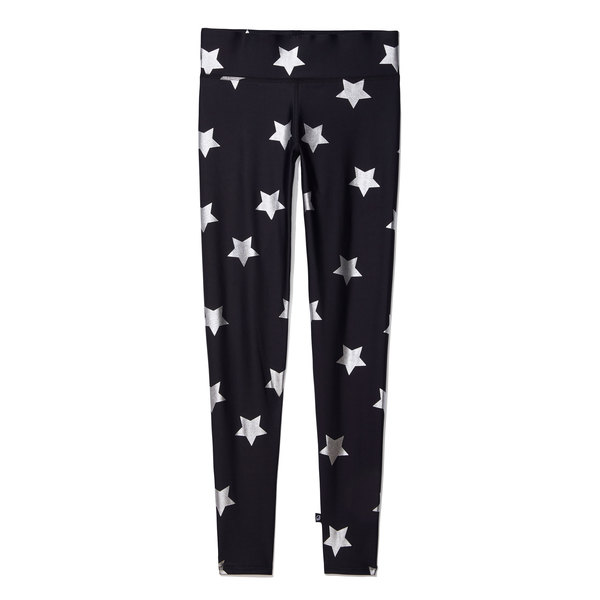 Terez Metallic Silver Star Leggings